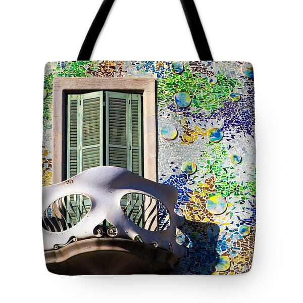 Gaudis Skull Balcony And Mosaic Walls Tote Bag by Rene Triay Photography
