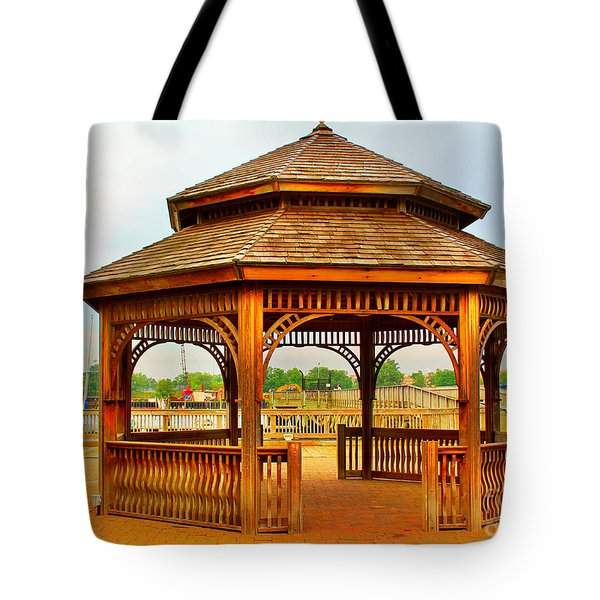Tote Bag featuring the photograph Gazebo By The Water by Judy Palkimas