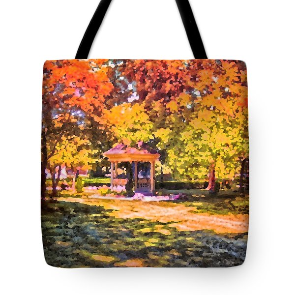 Gazebo On A Autumn Day Tote Bag by Thomas Woolworth