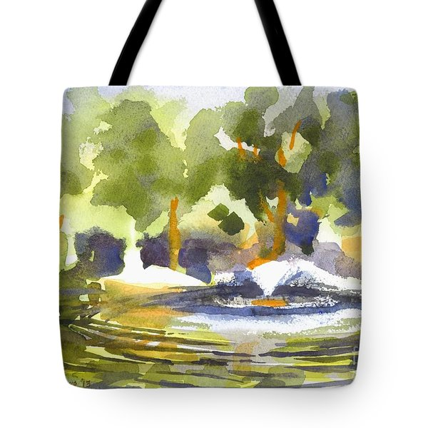 Gazebo With Pond And Fountain Tote Bag by Kip DeVore