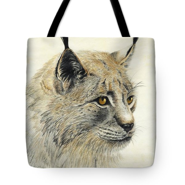 Tote Bag featuring the painting Gazing Lynx by Phyllis Howard