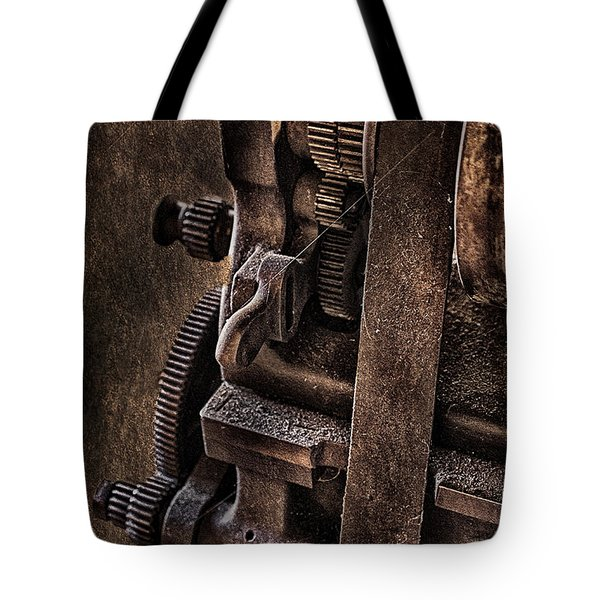 Gears And Pulley Tote Bag by Susan Candelario