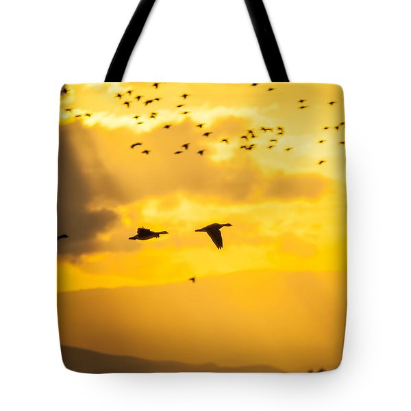 Geese At Sunset-2 Tote Bag