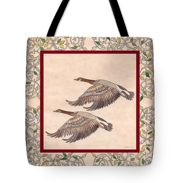 Tote Bag featuring the drawing Geese by Dianne Levy