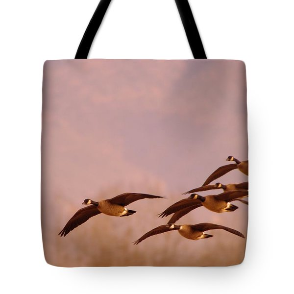 Geese Flying Over Tote Bag by Jeff Swan