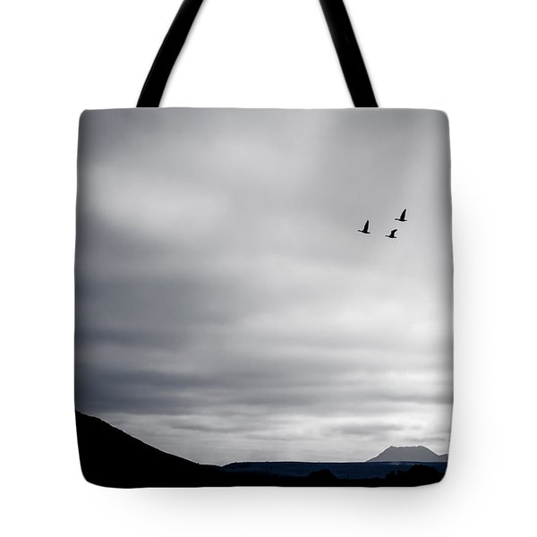 Tote Bag featuring the photograph Geese Flying South For Winter by Peta Thames