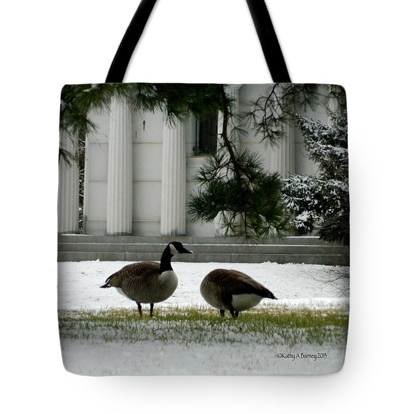Tote Bag featuring the photograph Geese In Snow by Kathy Barney