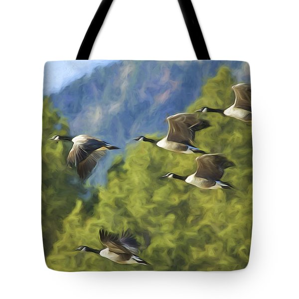 Geese On A Mission Tote Bag