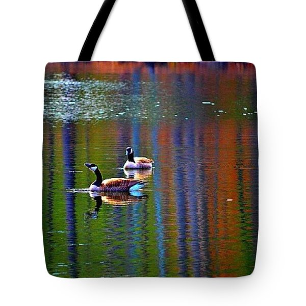 Tote Bag featuring the photograph Geese On The Lake by Tara Potts