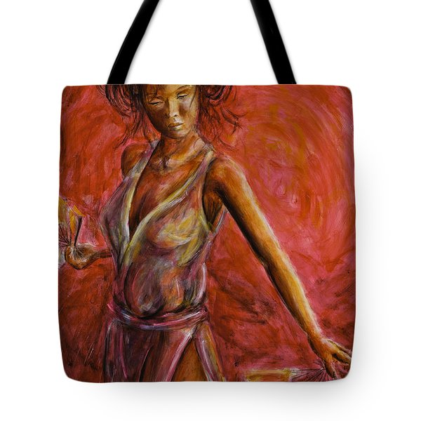 Geisha Fan Dance Tote Bag