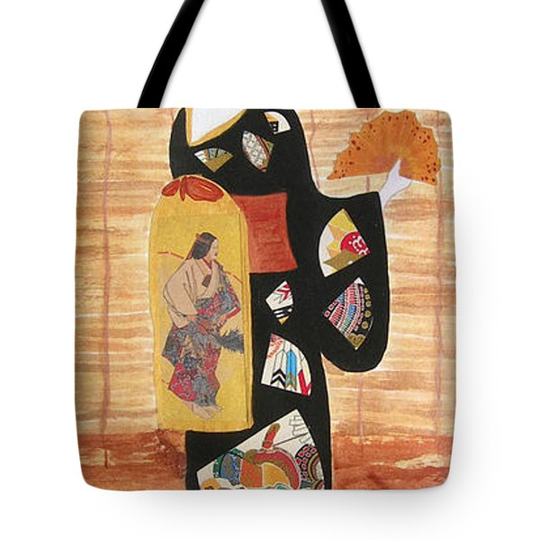 Tote Bag featuring the painting Geisha by Mini Arora