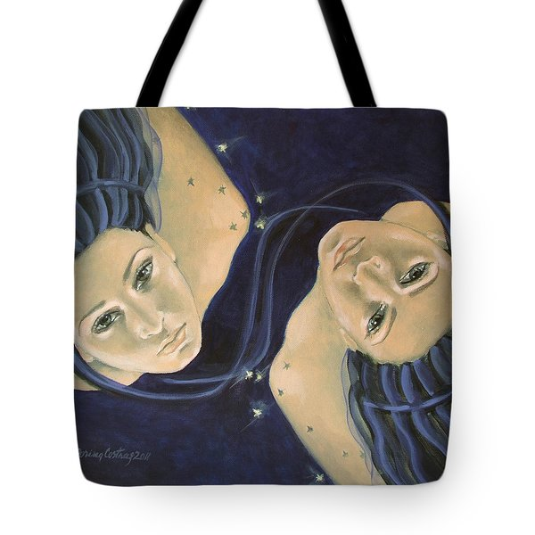 Gemini From Zodiac Series Tote Bag by Dorina  Costras