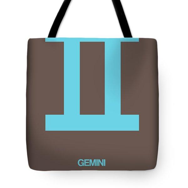 Gemini Zodiac Sign Blue Tote Bag