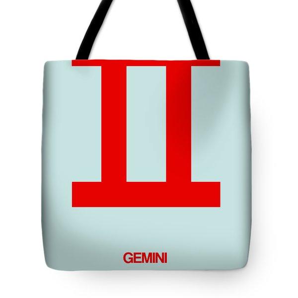 Gemini Zodiac Sign Red Tote Bag