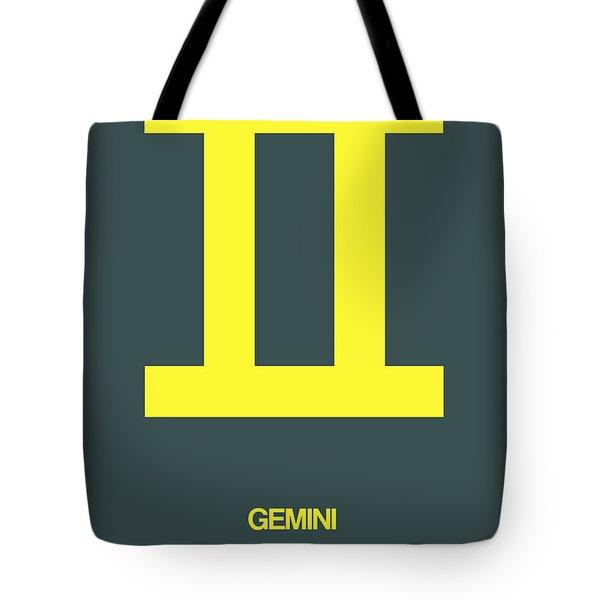 Gemini Zodiac Sign Yellow Tote Bag