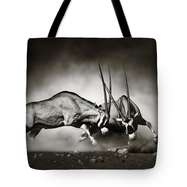 Gemsbok Fight Tote Bag