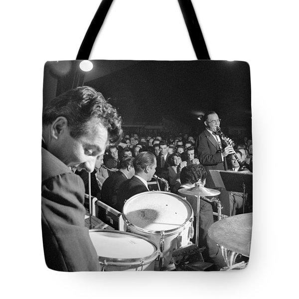 Gene Krupa And Benny Goodman Performing Tote Bag