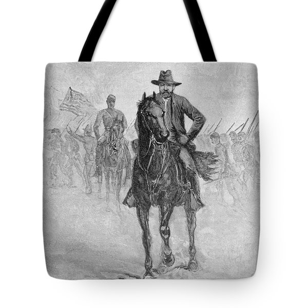 General Grant Reconnoitering The Confederate Position At Spotsylvania Court House, Engraved By C.h Tote Bag