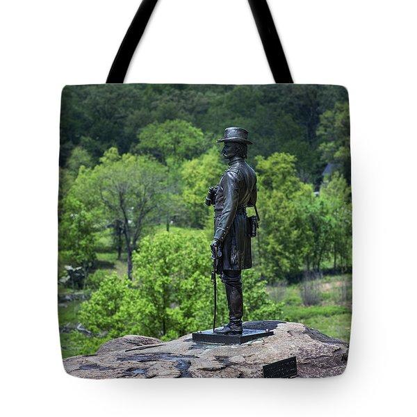 General Kemble Warren At Little Round Top Tote Bag by John Greim