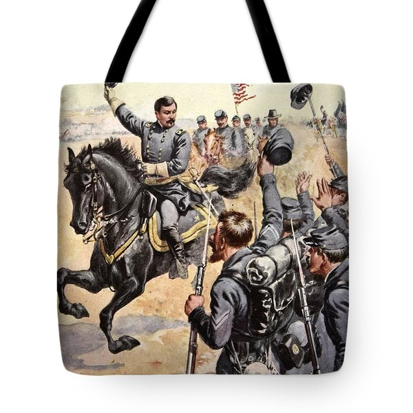 General Mcclellan At The Battle Tote Bag