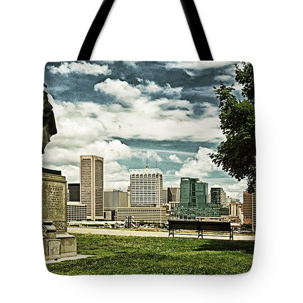 General Smith Overlooks Baltimore Harbor Tote Bag
