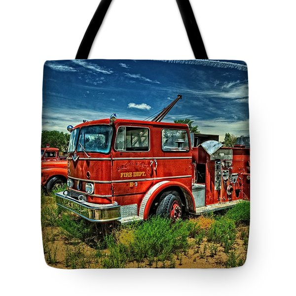 Tote Bag featuring the photograph Generations Of Fire Fighting Equipment by Ken Smith