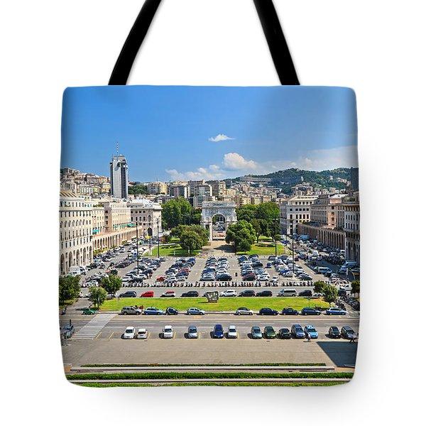Genova - Piazza Della Vittoria Overview Tote Bag by Antonio Scarpi