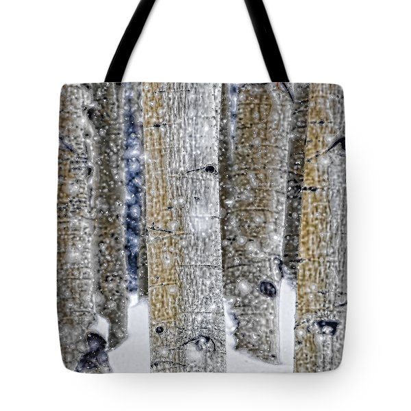 Gently Falling Forest Snow Tote Bag by Don Schwartz