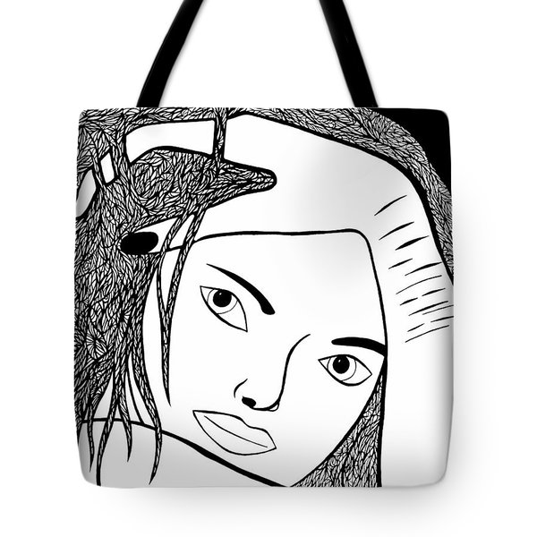 Tote Bag featuring the drawing Genuine Scars by Jamie Lynn