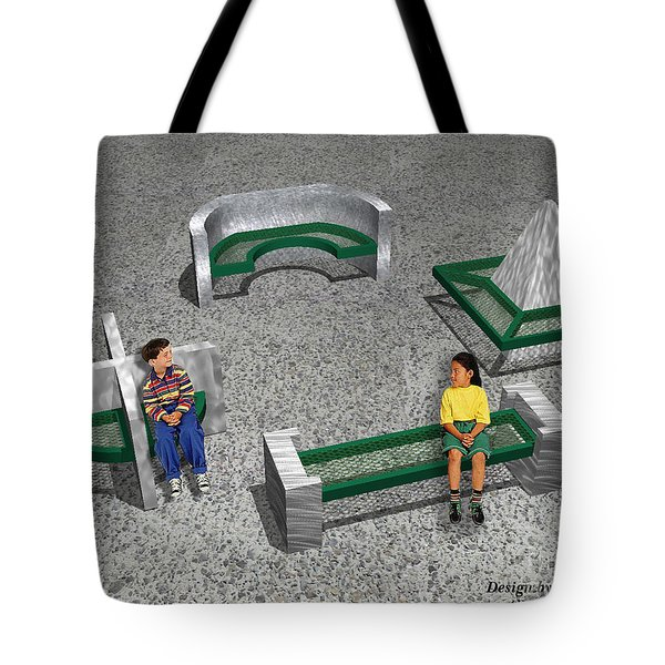Geo Benches Tote Bag by Peter Piatt