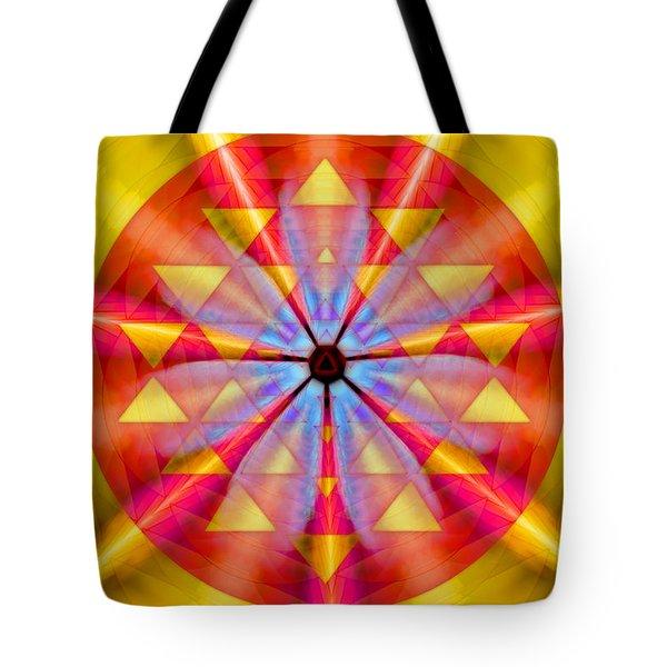 Tote Bag featuring the drawing Geo-cosmic Sri Yantra by Derek Gedney