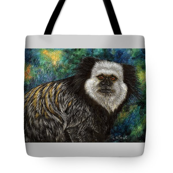 Tote Bag featuring the drawing Geoffrey's Marmoset by Sandra LaFaut