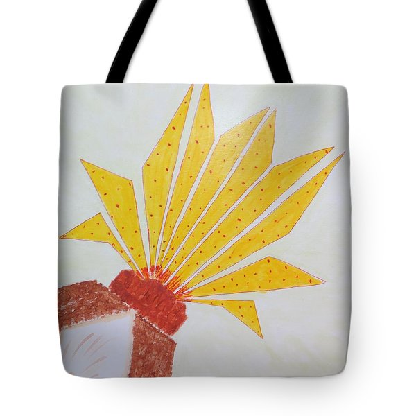 Tote Bag featuring the painting Geometric Blooming Lotus by Sonali Gangane