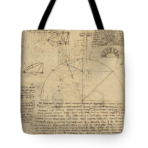 Geometrical Study About Transformation From Rectilinear To Curved Surfaces And Vice Versa From Atlan Tote Bag by Leonardo Da Vinci