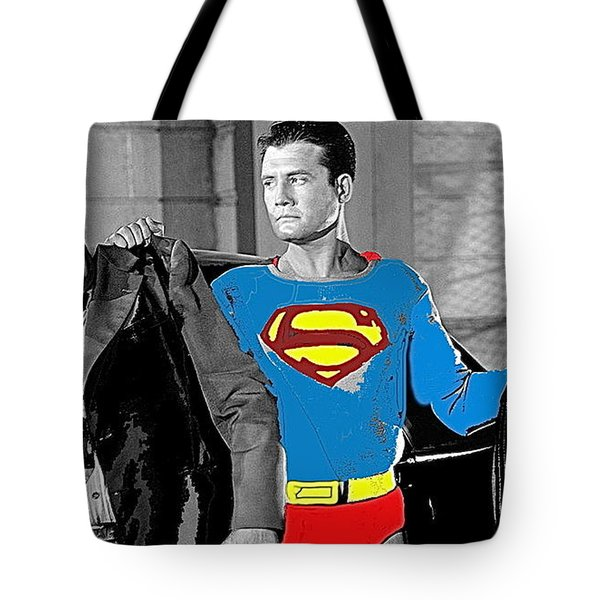 George Reeves As Superman In His 1950's Tv Show Apprehending Two Bad Guys 1953-2010 Tote Bag