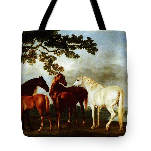 Tote Bag featuring the painting Horses by George Stubbs
