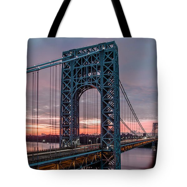 George Washington Bridge At Twilight Tote Bag by Eduard Moldoveanu