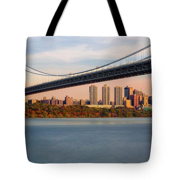 George Washington Bridge In Autumn Tote Bag