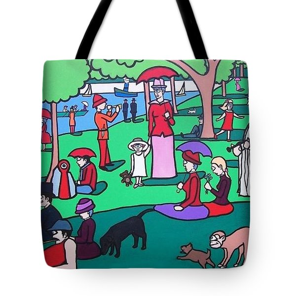 George Seurat- A Cyclops Sunday Afternoon On The Island Of La Grande Jatte Tote Bag by Thomas Valentine