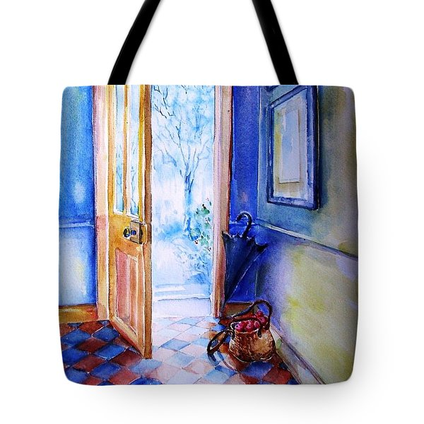 Tote Bag featuring the painting Winter Doorway Ireland    by Trudi Doyle