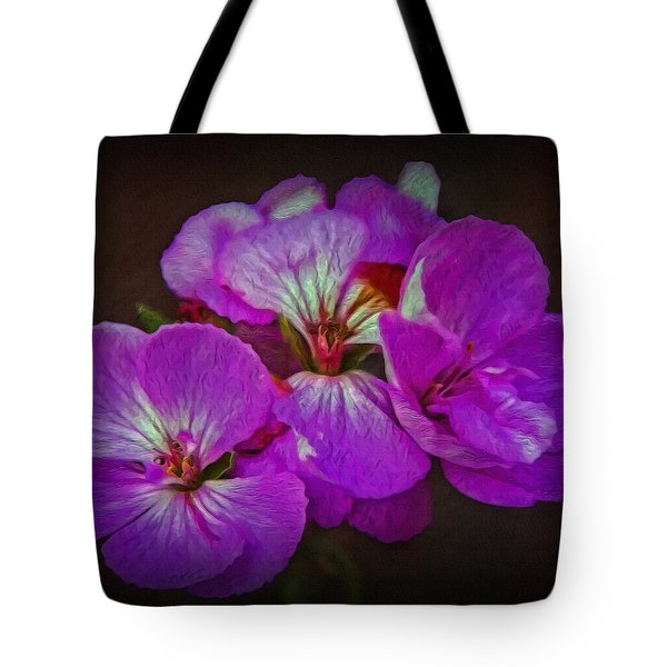 Tote Bag featuring the photograph Geranium Blossom by Hanny Heim