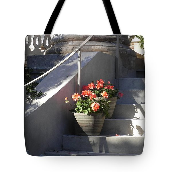 Tote Bag featuring the photograph Geraniums Look Better In Beaufort by Patricia Greer