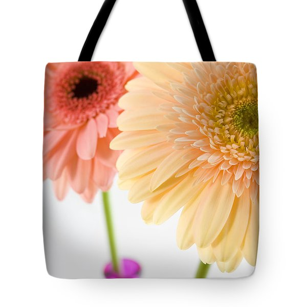 Peach And Pink Gerbera Tote Bag