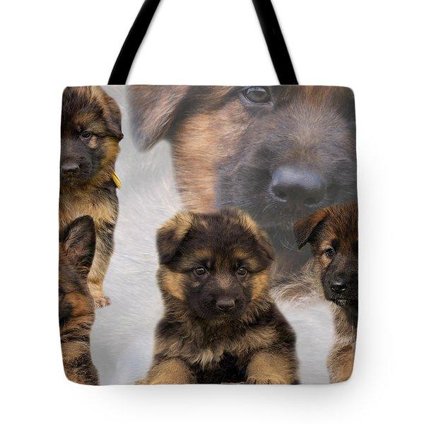 German Shepherd Puppy Collage Tote Bag by Sandy Keeton