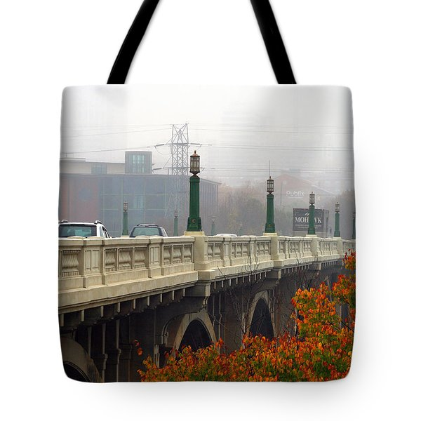 Tote Bag featuring the photograph Gervais Street Bridge In The Fog by Joseph C Hinson Photography