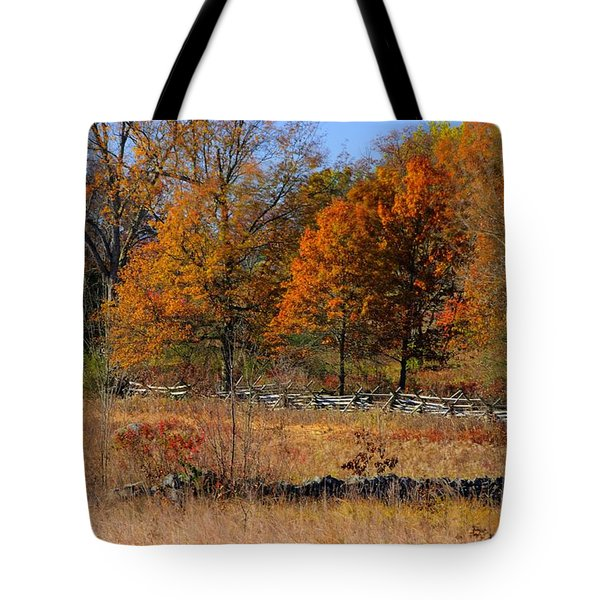 Gettysburg At Rest - Autumn Looking Towards The J. Weikert Farm Tote Bag by Michael Mazaika