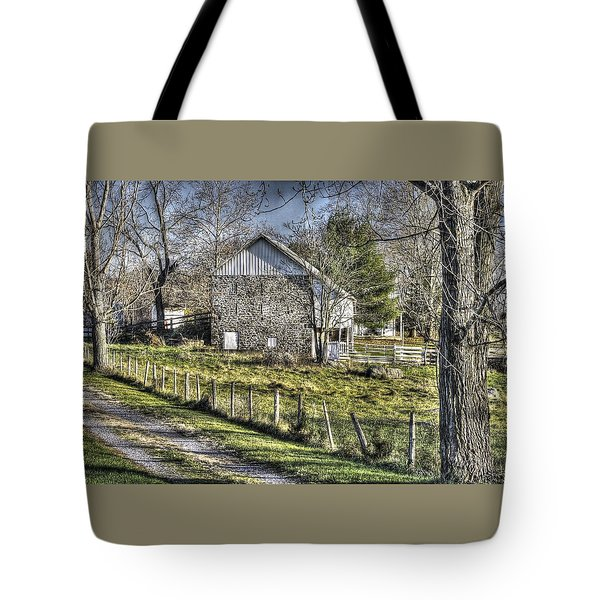Tote Bag featuring the photograph Gettysburg At Rest - Sarah Patterson Farm Field Hospital Muted by Michael Mazaika