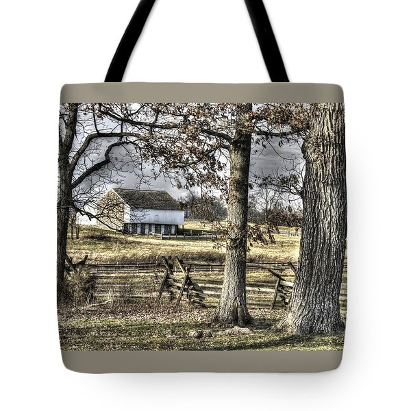 Tote Bag featuring the photograph Gettysburg At Rest - Winter Muted Edward Mc Pherson Farm by Michael Mazaika