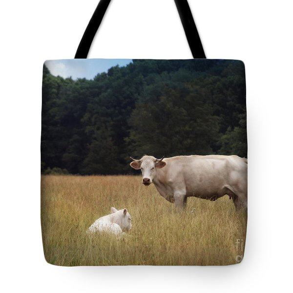 Ghost Cow And Calf Tote Bag