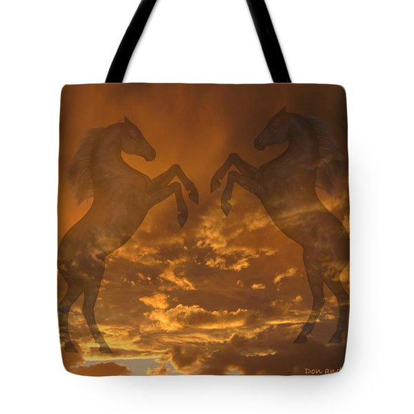 Ghost Horses At Sunset Tote Bag by Donald and Judi Hall
